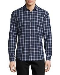 Zack saarland plaid sport shirt navy medium 925635