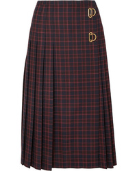 Burberry Pleated Checked Wool Skirt