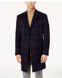 Tommy Hilfiger Barnes Modern Fit Blue Plaid Overcoat