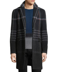 Etro Plaid Wool Blend Single Breasted Coat