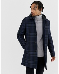 ASOS DESIGN Trench Coat In Navy Check With Removable Hood