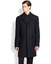 Salvatore Ferragamo Wool Plaid Overcoat