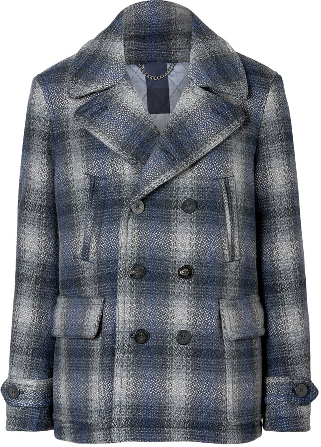 ce037f5c0 Burberry Brit Navy Wool Double Breasted Checked Paragon Pea Coat ...