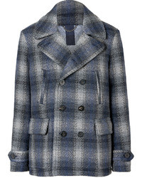 Brit navy wool double breasted checked paragon pea coat medium 13972