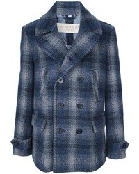 Burberry Brit Navy Wool Double Breasted Checked Paragon Pea Coat ...