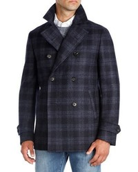 Isaia Plaid Wool Double Breasted Pea Coat