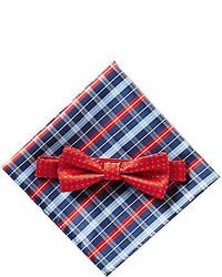 Class Club Dotted Bow Tie Plaid Pocket Square Set