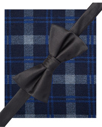Alfani Spectrum Solid Bow Tie And Exploded Sea Plaid Pocket Square Set Only At Macys