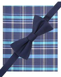 Alfani Spectrum Solid Pre Tied Bow Tie And Plaid Pocket Square Set