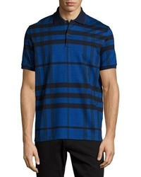 Modern check stretch cotton polo shirt navy medium 705095