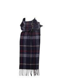 Dents Large Check Pattern Wool Scarf Navy