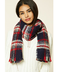 Forever 21 Frayed Plaid Oblong Scarf