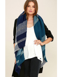 LuLu*s Carry On Navy Blue Plaid Scarf