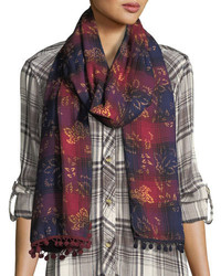 Oblong ombre plaid scarf w pompom edges medium 5147031