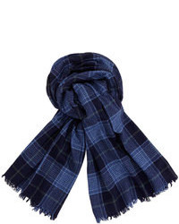 Brunello Cucinelli Plaid Cashmere Scarf Navy