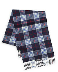 Saks fifth avenue black classic plaid woven cashmere scarf medium 99148