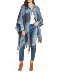 Free People Hampton Plaid Fringe Ruana