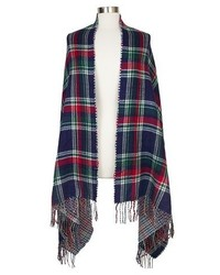 Oversized Reversible Plaid Blanket Wrap Scarf Blue And Green