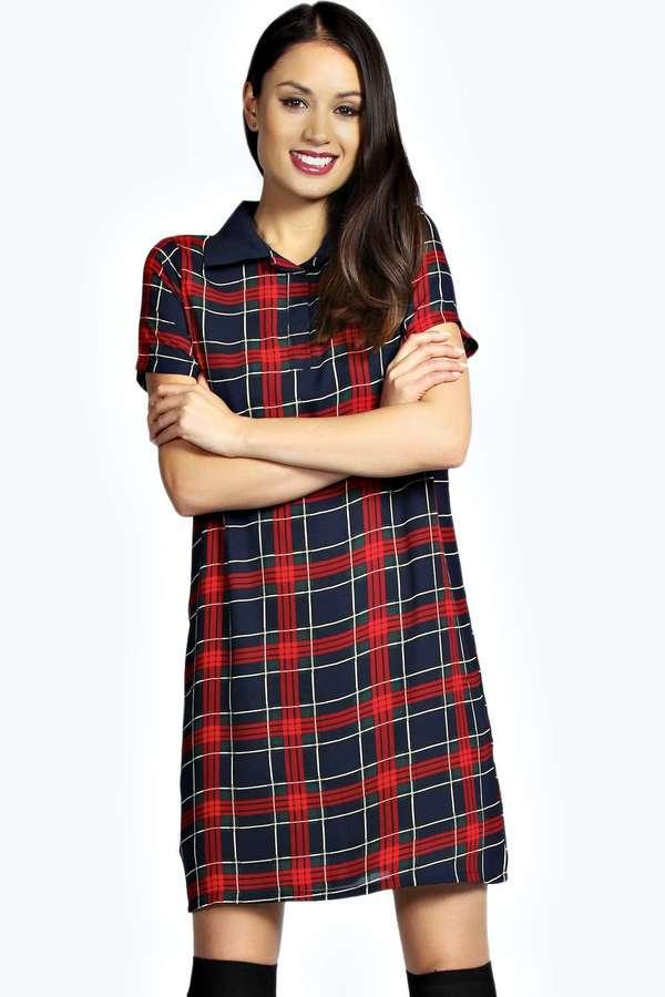 7c3d38ddd5cc7 Boohoo Hannie Tartan Collar Shift Dress, $35 | BooHoo | Lookastic.com