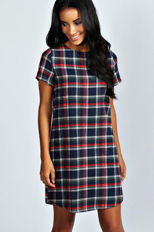 54ba7c95744fd Boohoo Nicki Tartan Check Shift Dress, $30 | BooHoo | Lookastic.com
