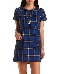 Charlotte Russe Short Sleeve Plaid Shift Dress