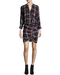 Emory ruched cargo plaid shirtdress medium 4424646