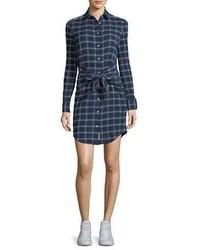 Jean sadie plaid tie waist shirtdress medium 5207555
