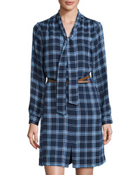 Michl michl kors plaid shirtdress with belt heritage blue medium 804703