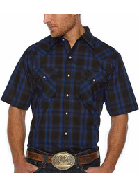 Ely Cattleman Short Sleeve Plaid Snap Front Shirt