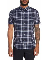 Good Man Brand Plaid Short Sleeve Trim Fit Shirt