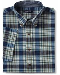 Lands' End Landsend Tailored Fit Short Sleeve Madras Shirt