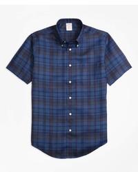 Brooks Brothers Madison Fit Plaid Irish Linen Short Sleeve Sport Shirt