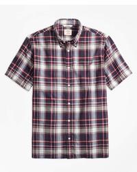 Brooks Brothers Plaid Crepe Madras Short Sleeve Sport Shirt