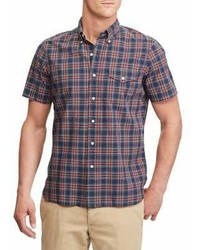 Polo Big And Tall Tartan Short Sleeve Cotton Button Down Shirt