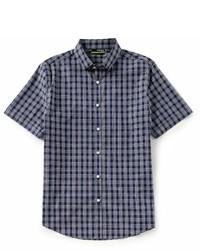 Murano Slim Fit Plaid Performance Dobby Short Sleeve Woven Shirt