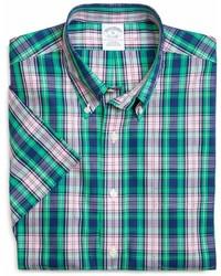Brooks Brothers Supima Cotton Non Iron Slim Fit Large Plaid Short Sleeve Sport Shirt