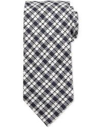 Textured plaid silk tie blue medium 641643