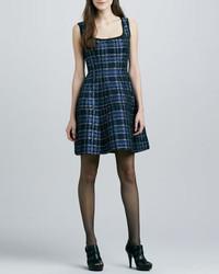 Nanette lepore dazzling shiny plaid dress medium 424141