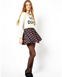 Navy Plaid Skater Skirt
