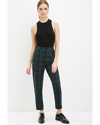 Navy Plaid Skinny Pants