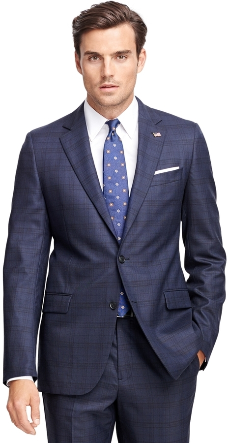 b4a4d5ceed75 Brooks Brothers Fitzgerald Fit Saxxon Wool Blue Plaid 1818 Suit ...
