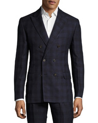 Brunello Cucinelli Madras Plaid Double Breasted Suit Blue