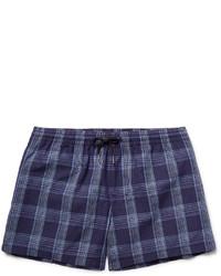 ... Club Monaco Arlen Slim Fit Mid Length Checked Seersucker Swim Shorts