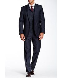 English Laundry Navy Plaid Two Button Peak Lapel Three Piece Wool Suit