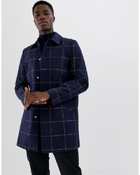ASOS DESIGN Single Breasted Trench In Navy Check