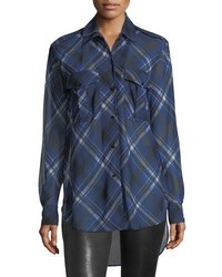 Rag & Bone Mason Plaid Button Front Tunic Shirt