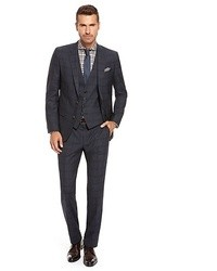 Hugo Boss Hugegenius We Slim Fit Super 100 Virgin Wool Check 3 Piece Suit Navy