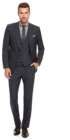 Hugo Boss Hugegenius We Slim Fit Super 100 Virgin Wool Check 3 ...