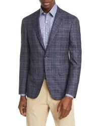 Canali Fit Stretch Plaid Wool Sport Coat