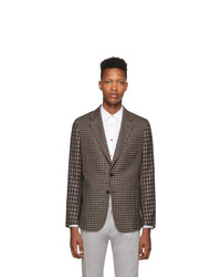 Paul Smith Navy And Brown Contrast Plaid Soho Blazer